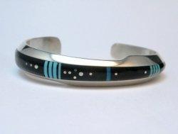 Narrow Jim Harrison Navajo Native American Turquoise Jet Bracelet, 6-1/16