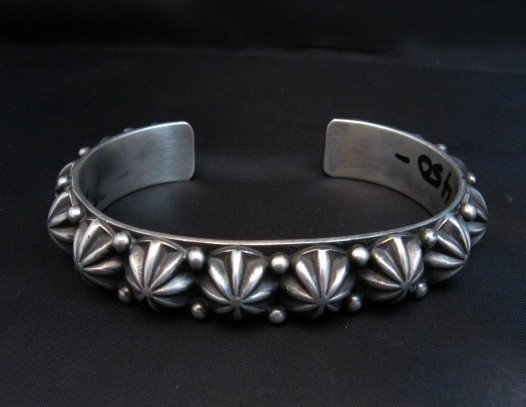Image 0 of Native American Navajo Star Studded Sterling Cuff Bracelet, Happy Piasso