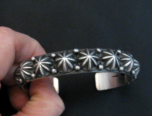 Image 1 of Native American Navajo Star Studded Sterling Cuff Bracelet, Happy Piasso
