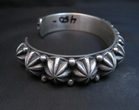 Image 2 of Native American Navajo Star Studded Sterling Cuff Bracelet, Happy Piasso