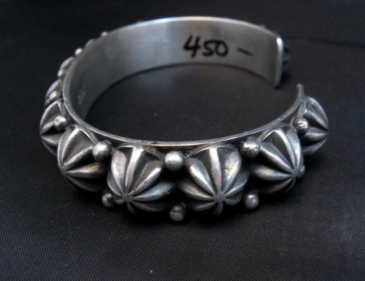 Image 3 of Native American Navajo Star Studded Sterling Cuff Bracelet, Happy Piasso