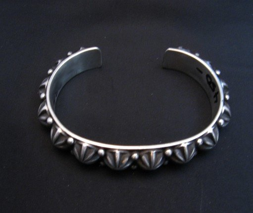 Image 4 of Native American Navajo Star Studded Sterling Cuff Bracelet, Happy Piasso