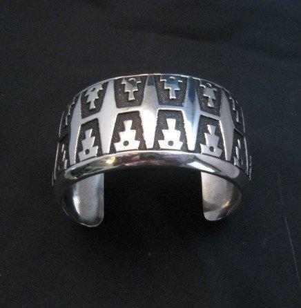 Image 0 of Wide Navajo Native American Sterling Silver Bracelet, Rosita Singer