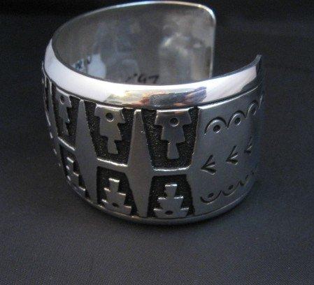 Image 4 of Wide Navajo Native American Sterling Silver Bracelet, Rosita Singer