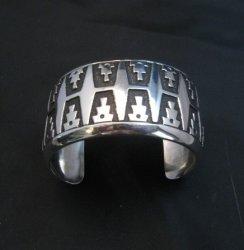 Wide Navajo Native American Sterling Silver Bracelet, Rosita Singer