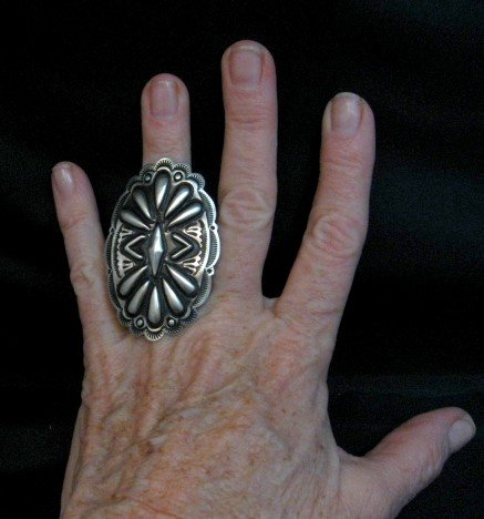 Image 2 of Big Navajo Silver Concho Ring by Leander Tahe sz7-1/2