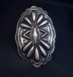 Big Navajo Silver Concho Ring by Leander Tahe sz7-1/2