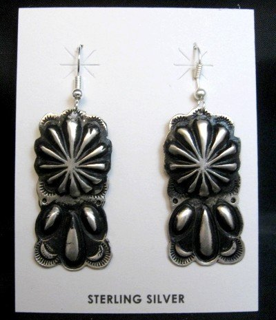 Image 0 of Navajo Silver Concho Dangle Earrings by Leander Tahe