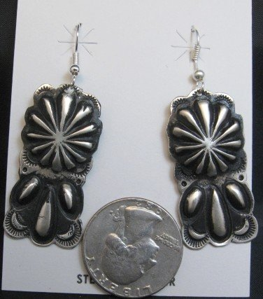 Image 1 of Navajo Silver Concho Dangle Earrings by Leander Tahe