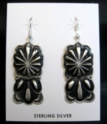 Navajo Silver Concho Dangle Earrings by Leander Tahe