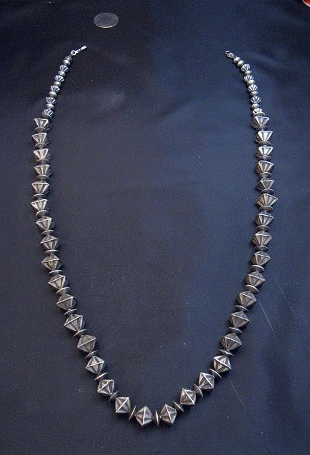 Image 1 of Vintage Navajo Handmade Square Fluted Silver Bead Necklace 26-inches