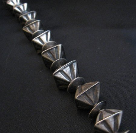 Image 2 of Vintage Navajo Handmade Square Fluted Silver Bead Necklace 26-inches