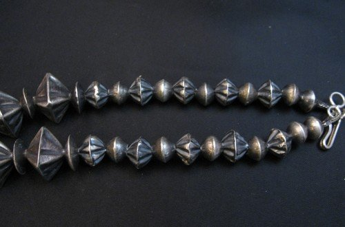 Image 4 of Vintage Navajo Handmade Square Fluted Silver Bead Necklace 26-inches
