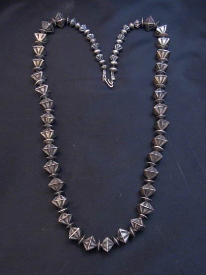 Image 5 of Vintage Navajo Handmade Square Fluted Silver Bead Necklace 26-inches