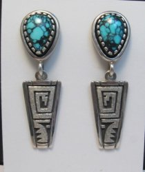 Older Native American Turquoise Silver Earrings by Navajo Toney Mitchell