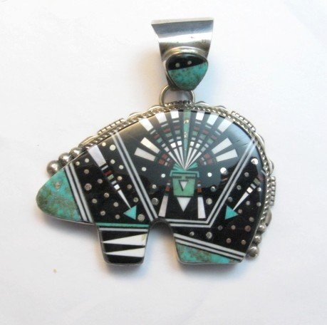 Image 0 of Older Navajo Multigem Inlaid Cosmic Bear Pendant Inlaid Bale, Ray Jack