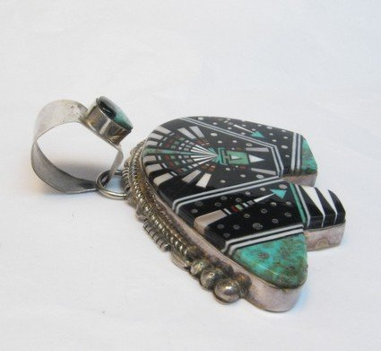 Image 1 of Older Navajo Multigem Inlaid Cosmic Bear Pendant Inlaid Bale, Ray Jack