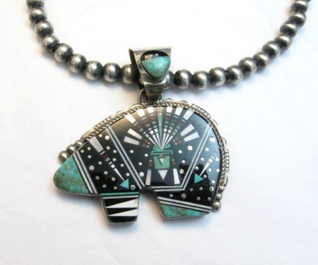 Image 2 of Older Navajo Multigem Inlaid Cosmic Bear Pendant Inlaid Bale, Ray Jack