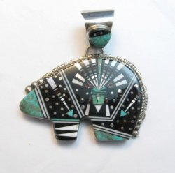 Older Navajo Multigem Inlaid Cosmic Bear Pendant Inlaid Bale, Ray Jack