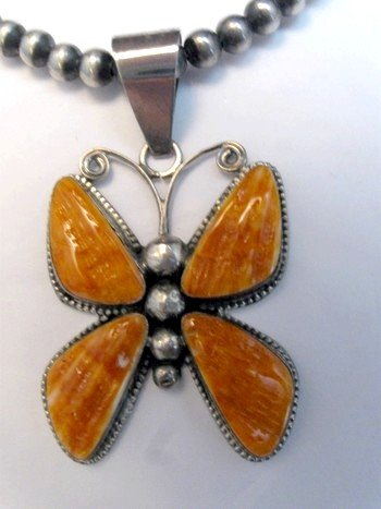 Image 2 of Older Navajo Spiny Oyster Silver Butterfly Pendant, H. Begay