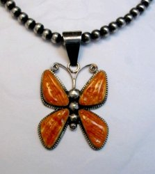 Older Navajo Spiny Oyster Silver Butterfly Pendant, H. Begay