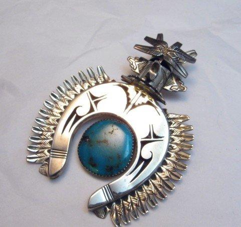 Image 0 of Older Eagle Kachina Turquoise Silver Naja Pin Pendant, Nelson Morgan