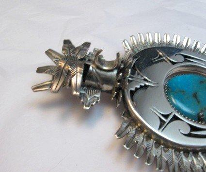 Image 3 of Older Eagle Kachina Turquoise Silver Naja Pin Pendant, Nelson Morgan