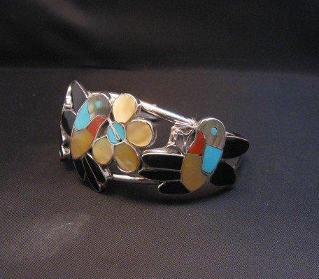 Image 1 of Ella Gia ~ Zuni ~ Inlaid Hummingbird Silver Bracelet
