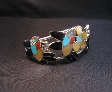 Image 3 of Ella Gia ~ Zuni ~ Inlaid Hummingbird Silver Bracelet