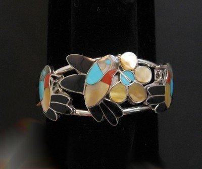 Image 4 of Ella Gia ~ Zuni ~ Inlaid Hummingbird Silver Bracelet
