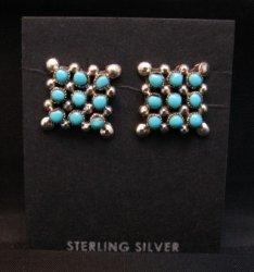 Zuni Turquoise Snake Eye Post Earrings, Calvert Lamy
