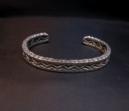 Image 0 of Sunshine Reeves Navajo Stamped Silver Stacker Cuff Bracelet