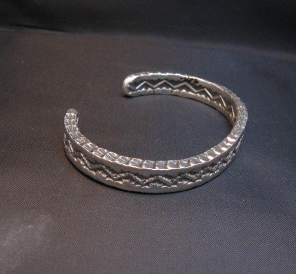 Image 1 of Sunshine Reeves Navajo Stamped Silver Stacker Cuff Bracelet