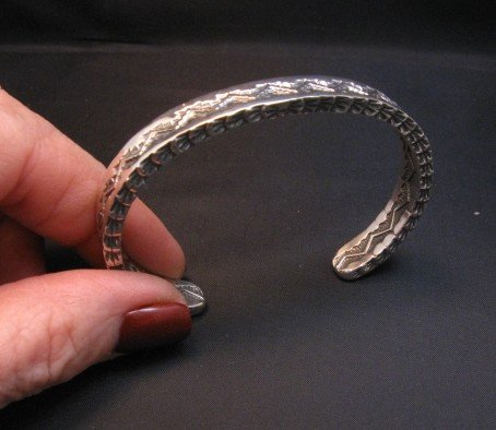 Image 2 of Sunshine Reeves Navajo Stamped Silver Stacker Cuff Bracelet