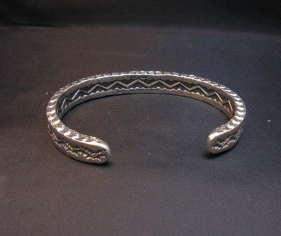 Image 3 of Sunshine Reeves Navajo Stamped Silver Stacker Cuff Bracelet