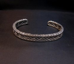 Sunshine Reeves Navajo Stamped Silver Stacker Cuff Bracelet