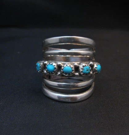 Image 0 of Navajo Native American 5-Way Split Turquoise & Silver Ring sz7, Grace Silver