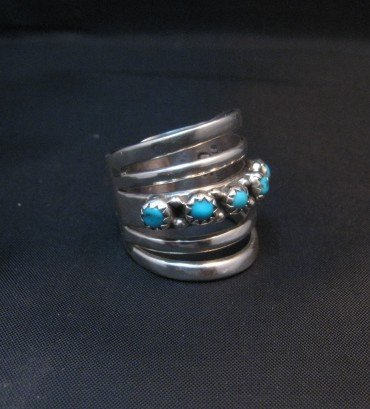 Image 1 of Navajo Native American 5-Way Split Turquoise & Silver Ring sz7, Grace Silver