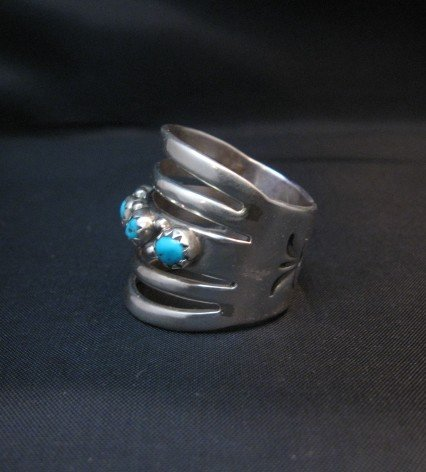 Image 3 of Navajo Native American 5-Way Split Turquoise & Silver Ring sz7, Grace Silver