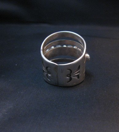 Image 4 of Navajo Native American 5-Way Split Turquoise & Silver Ring sz7, Grace Silver