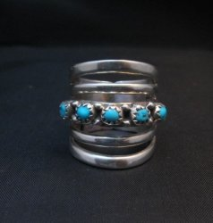 Navajo Native American 5-Way Split Turquoise & Silver Ring sz7, Grace Silver
