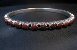 Navajo Sterling Silver Gaynell Parker Coral Bangle Bracelet