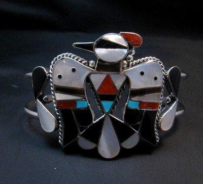 Image 0 of Zuni Inlay Thunderbird Silver Bracelet, Bobby & Corraine Shack