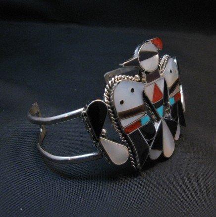 Image 1 of Zuni Inlay Thunderbird Silver Bracelet, Bobby & Corraine Shack