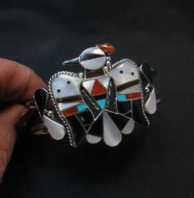 Image 2 of Zuni Inlay Thunderbird Silver Bracelet, Bobby & Corraine Shack