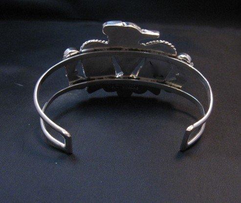 Image 4 of Zuni Inlay Thunderbird Silver Bracelet, Bobby & Corraine Shack
