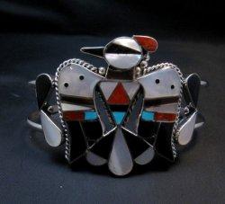 Zuni Inlay Thunderbird Silver Bracelet, Bobby & Corraine Shack