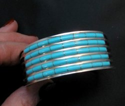 Zuni Jewelry 5 Row Inlay Turquoise Sterling Silver Bracelet, Anson Wallace
