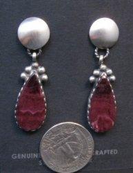 Navajo Selena Warner Purple Spiny Oyster Silver Earrings Native American