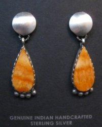 Navajo Selena Warner Spiny Oyster Silver Earrings Native American